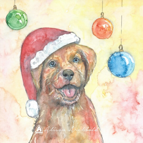 Christmas Greeting Card Dog