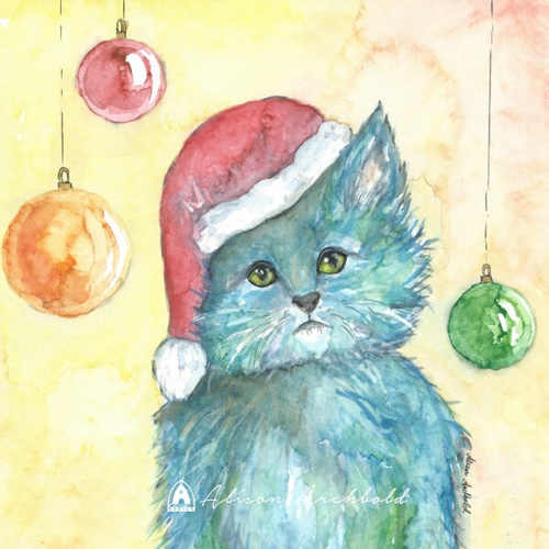 Small Christmas Card Cat