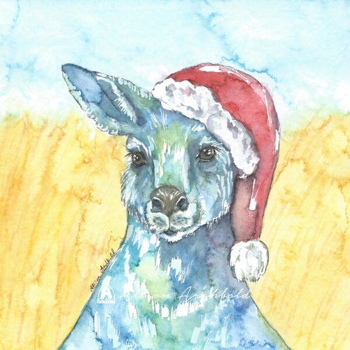 Small Christmas Card Kangaroo