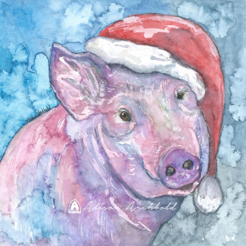 Christmas Greeting Card Pig