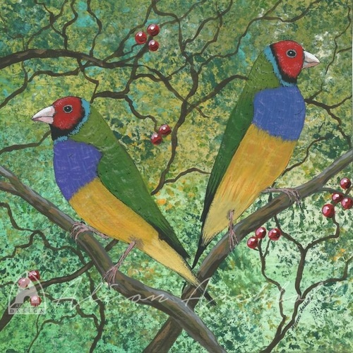 Greeting Card Garden Gouldian Finches